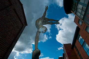 Diving sculpture by Cathy Lewis, Waterfront Walk, Birmingham